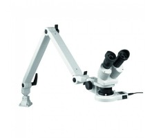 Стереомикроскоп на металлическом шарнирном рычаге с зажимом для стола